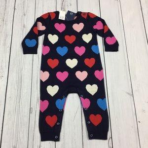 Baby Gap Girls Lightweight Heart Sweater Romper